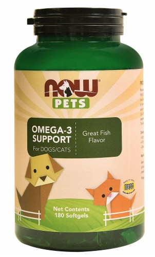 NOW Pets Omega-3 Support for Dogs and Cats Fish Flavor Softgels Perspective: front