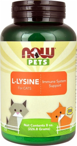 NOW  Pets L-Lysine Powder For Cats Perspective: front