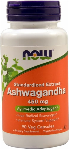 NOW Foods Ashwagandha Standardized Extract Veg Capsules 450mg Perspective: front