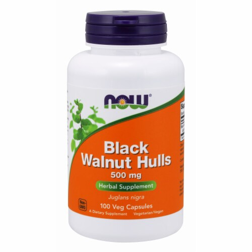 NOW Foods Black Walnut Hulls Herbal Supplement Veg Capsules 500mg Perspective: front