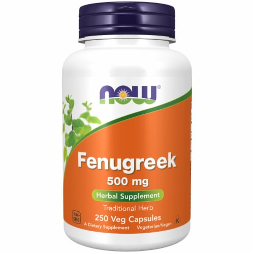 NOW Fenugreek 500mg Herbal Supplement Perspective: front