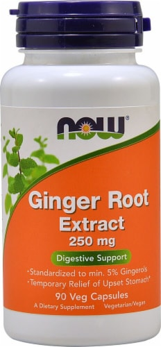 NOW Foods Ginger Root Extract Veg Capsules 250mg Perspective: front