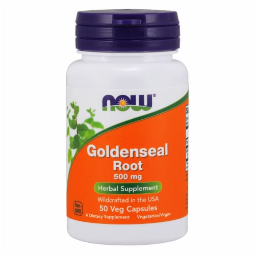 NOW Foods Goldenseal Root Herbal Supplement Veg Capsules 500mg Perspective: front