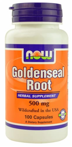 NOW Foods Goldenseal Root Herbal Supplement Capsules 500mg Perspective: front