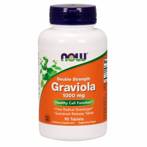 NOW Foods Double Strength Graviola Healthy Cell Function Dietary Supplement Tablets 1000mg Perspective: front