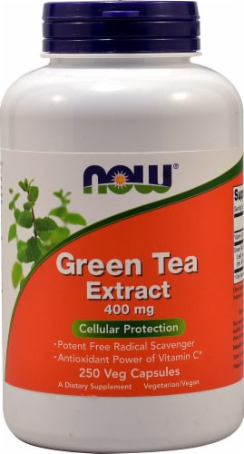 NOW Foods Green Tea Extract Veg Capsules 400mg Perspective: front