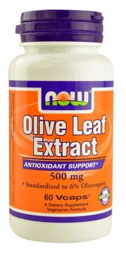 NOW Foods Olive Leaf Extract Veg Capsules 500mg Perspective: front