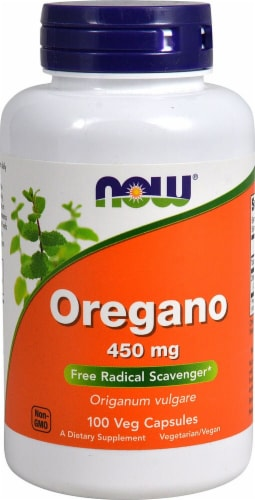 NOW Foods Oregano Veg Capsules 450mg Perspective: front
