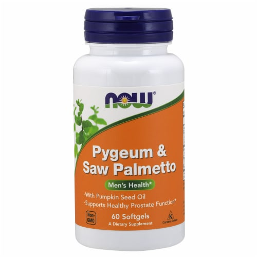 NOW Foods Pygeum & Saw Palmetto Men's Health Dietary Supplement Softgels Perspective: front