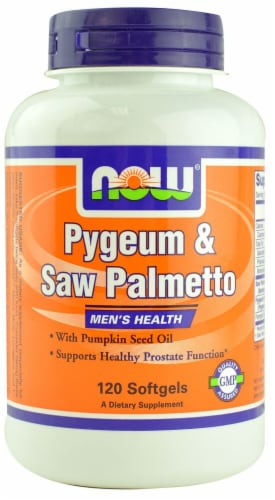 NOW Foods Pygeum & Saw Palmetto Softgels Perspective: front