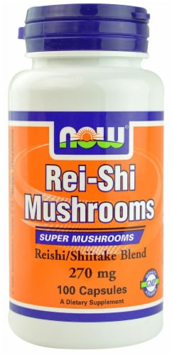 NOW Foods Rei-Shi Mushrooms Capsules 270mg Perspective: front