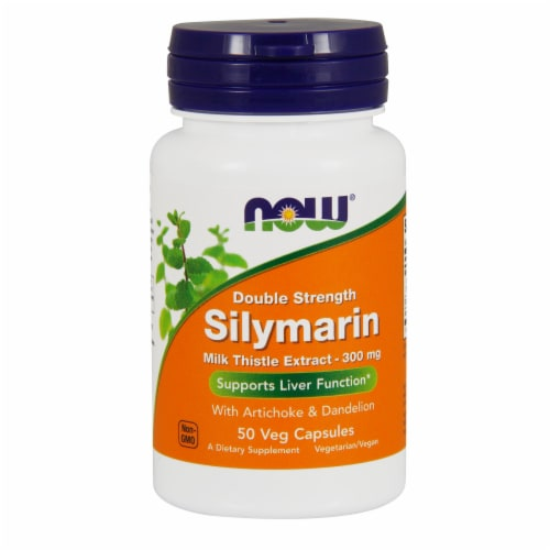 NOW Foods Double Strength Silymarin Liver Function Dietary Supplement Veg Capsules Perspective: front