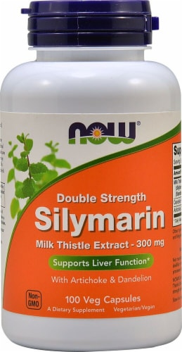 NOW Foods Double Strength Silymarin Veg Capsules 300mg Perspective: front