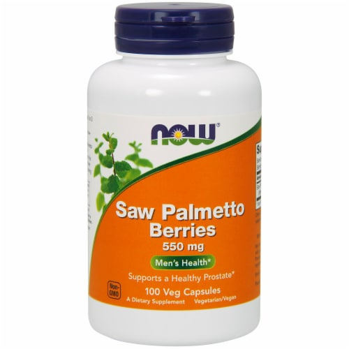 NOW Foods Saw Palmetto Berries Men's Health Dietary Supplement Veg Capsules 550mg Perspective: front