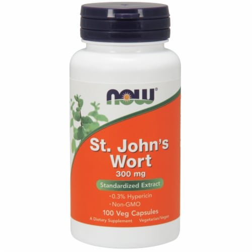 NOW Foods St. John's Wort Standardized Extract Dietary Supplement Veg Capsules 300mg Perspective: front