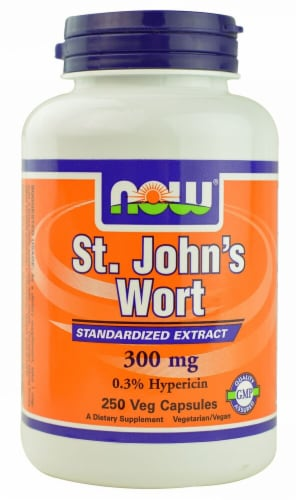 NOW Foods St. John's Wort Standardized Extract Veg Capsules 300mg Perspective: front