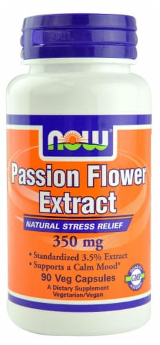 NOW Foods Passion Flower Extract Veg Capsules 350mg Perspective: front