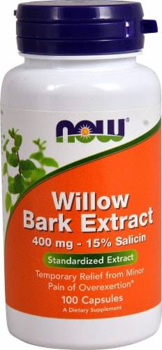 NOW Foods Willow Bark Extract Capsules 400mg Perspective: front