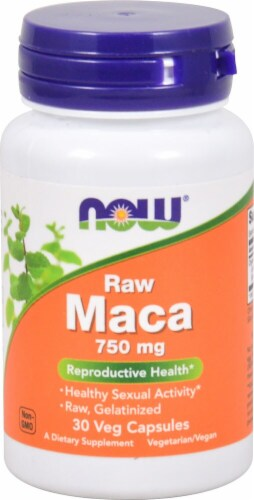 NOW Foods Raw Maca Veg Capsules 750mg Perspective: front