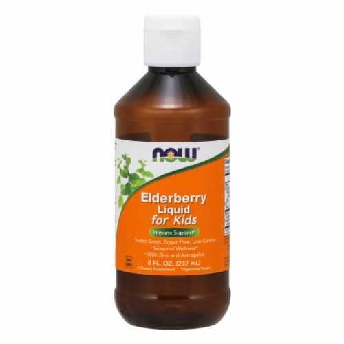 NOW Foods Elderberry Liquid for Kids Immune Support Dietary Supplement Perspective: front