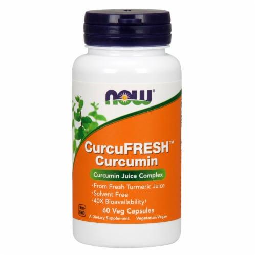 NOW Foods CurcuFRESH Curcumin Juice Complex Dietary Supplement Veg Capsules Perspective: front