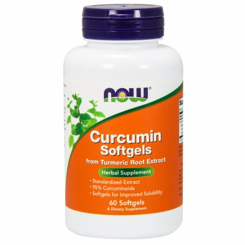 NOW Foods Curcumin Herbal Supplement Softgels Perspective: front