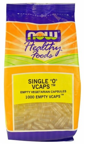 """NOW Foods Healthy Foods Single """"0"""" Vcaps Empty Vegetarian Capsules Perspective: front"""