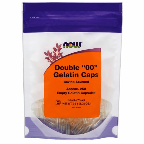 NOW Foods Double 00 Empty Gelatin Capsules Perspective: front