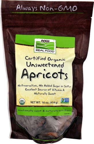 NOW Foods  Real Food Certified Organic Unsweetened Apricots Perspective: front