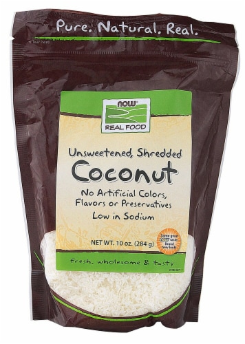 NOW   Real Food Unsweetened Shredded Coconut Perspective: front