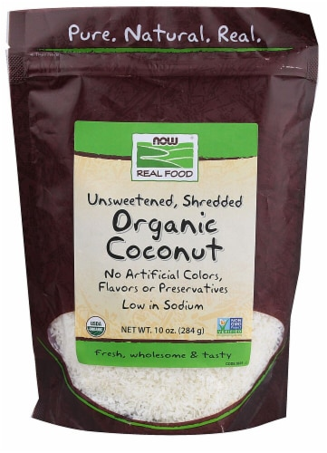 NOW Real Food Organic Coconut Unsweetened Shredded Perspective: front