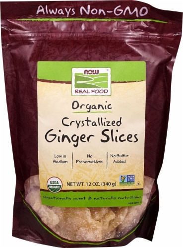 NOW   Real Food™ Crystallized Ginger Slices Perspective: front