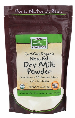 NOW   Real Food™ Certified Organic Non-Fat Dry Milk Powder Perspective: front
