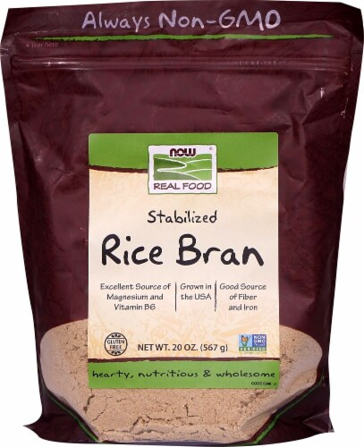 NOW   Real Food Rice Bran Perspective: front