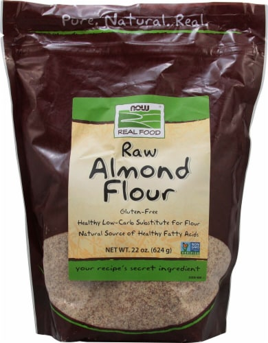 NOW  Real Food Raw Almond Flour Perspective: front
