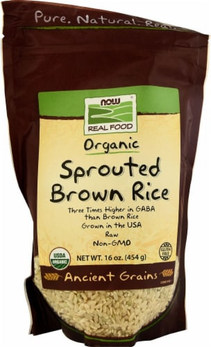 NOW   Real Food Organic Sprouted Brown Rice Perspective: front