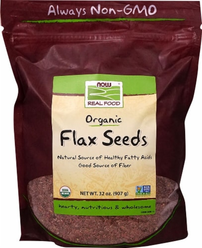 NOW  Real Food Organic Flax Seeds Perspective: front