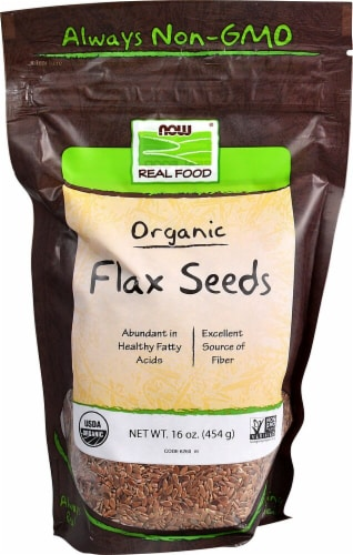 NOW   Real Food Certified Organic Flax Seeds Perspective: front