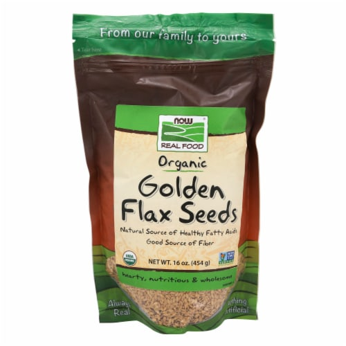 NOW Foods Organic Golden Flax Seeds Perspective: front