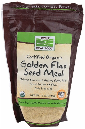 NOW  Real Food Certified Organic Golden Flax Seed Meal Perspective: front