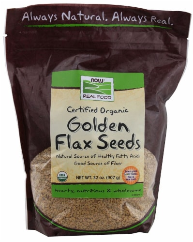 NOW Foods  Real Food™ Certified Organic Golden Flax Seeds Perspective: front