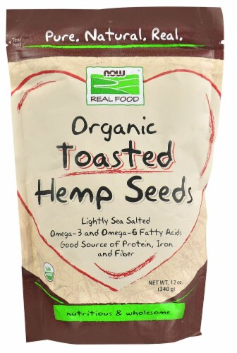 NOW Foods  Real Food Organic Toasted Hemp Seeds Perspective: front