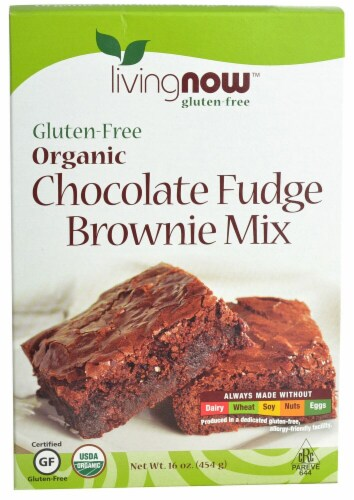 NOW Foods  Livingnow™ Organic Brownie Mix Gluten Free   Chocolate Fudge Perspective: front
