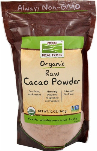 NOW Foods Organic Raw Cacao Powder Perspective: front