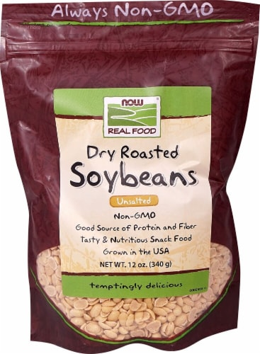 NOW   Real Food™Dry Roasted Soybeans Unsalted Perspective: front