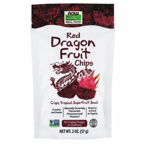 NOW Foods Red Dragon Fruit Chips Crispy Tropical Superfruit Snack Perspective: front