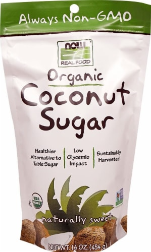 NOW  Real Food Organic Coconut Sugar Perspective: front