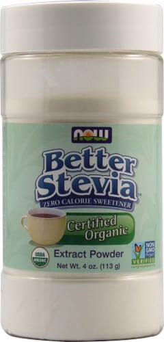 NOW  BetterStevia™ Organic Zero Calorie Powdered Sweetener Perspective: front