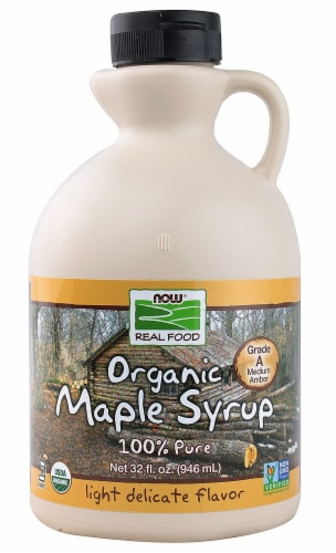 NOW Real Food Organic Grade A Maple Syrup Perspective: front