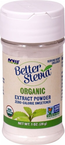 NOW Foods  BetterStevia® Organic Zero Calorie Powdered Sweetener Perspective: front